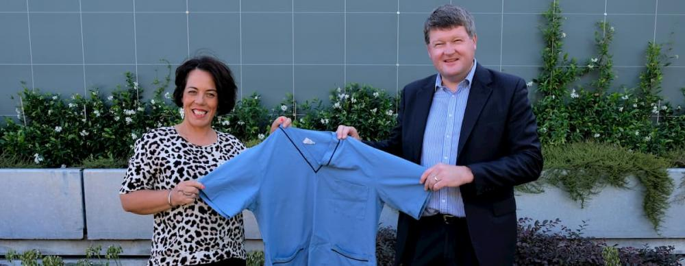 Christchurch Woman Diana Bates and Mr Steven Kelly holding a blue shirt