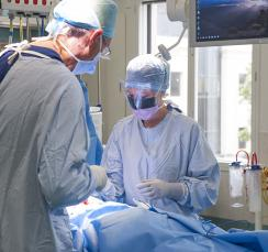 Weight loss surgery being performed in an operating theatre at St Georges Hospital Christchurch NZ